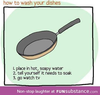 How every teen washes dishes