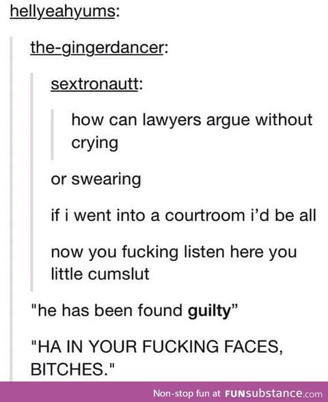 I would crack as a lawyer