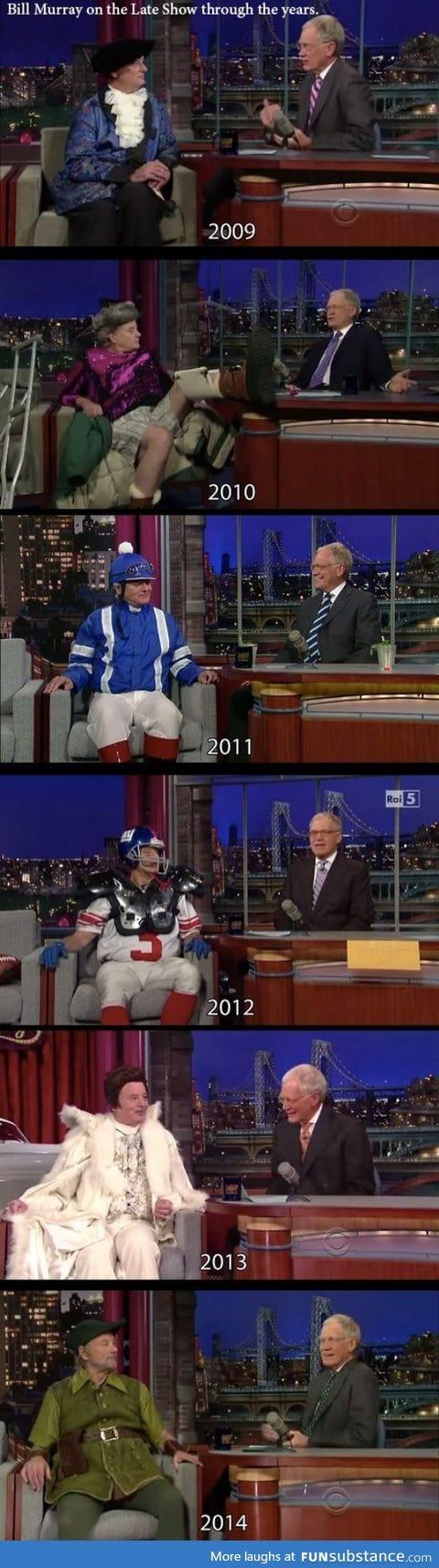 Bill Murray on Letterman 2009-2014