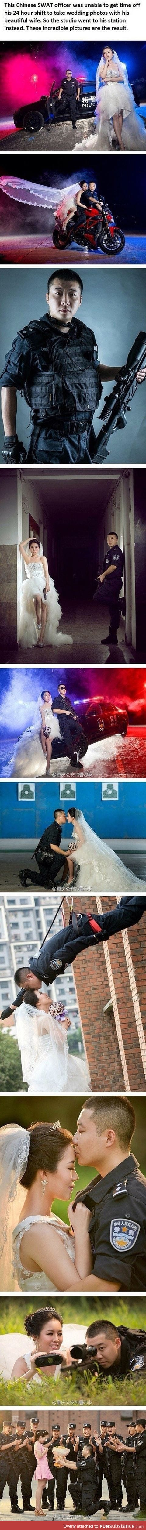 A police marriage photo shoot