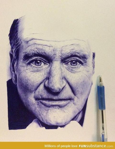 Robin Williams ballpoint pen drawing