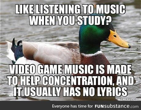 Plus it's epic. I love studying to Skyrim's soundtrack