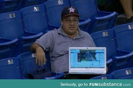 Dude couldn't make it to the game, so his friend Skyped him in
