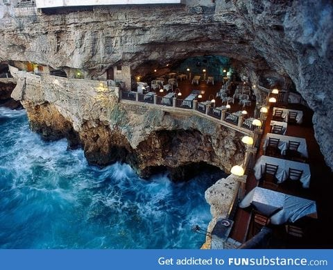 Italian restaurant built into an ocean side grotto