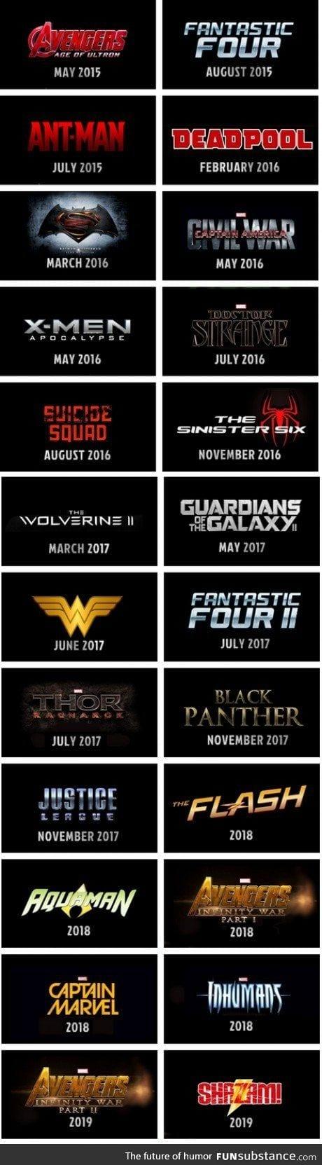 Marvel, DC, Fox, Sony...The full superhero movie lineup