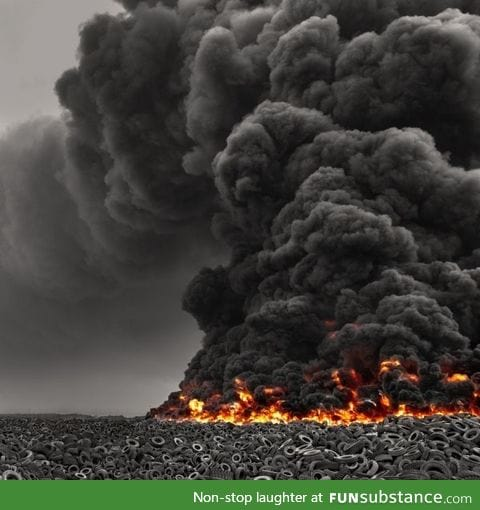 Awesome picture of millions of tires on fire