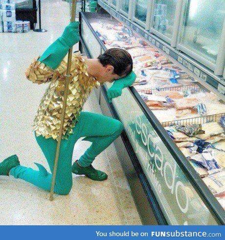 When Aquaman goes grocery shopping...