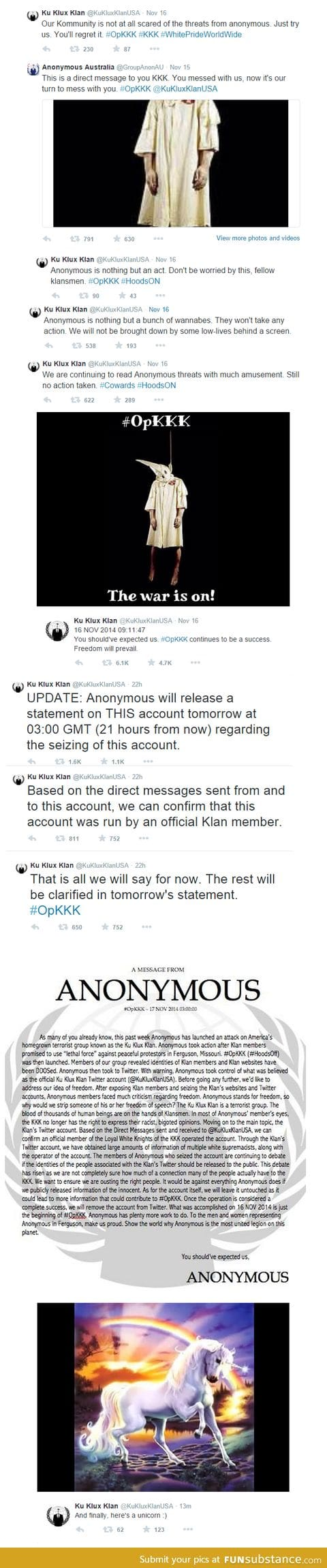 Anonymous seized the KKK's official twitter and it's pretty satisfying