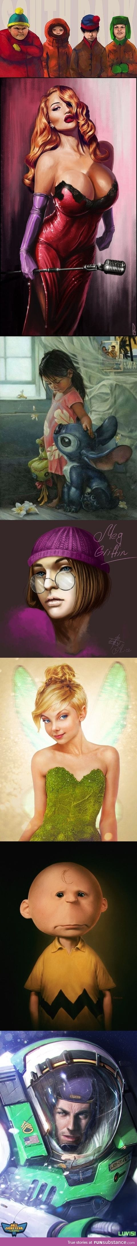 Amazing drawings of cartoon characters