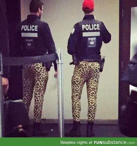 Police in Montreal are protesting job concerns by not wearing their work pants