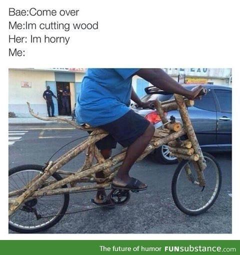 I'm cutting wood