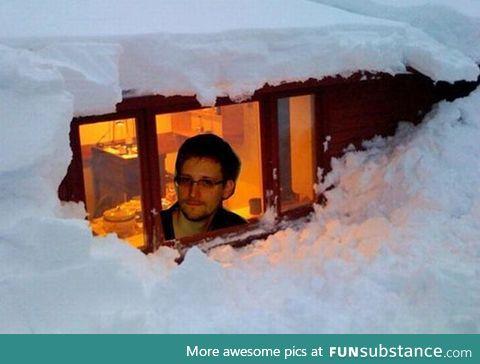 Snowden, snowed in.
