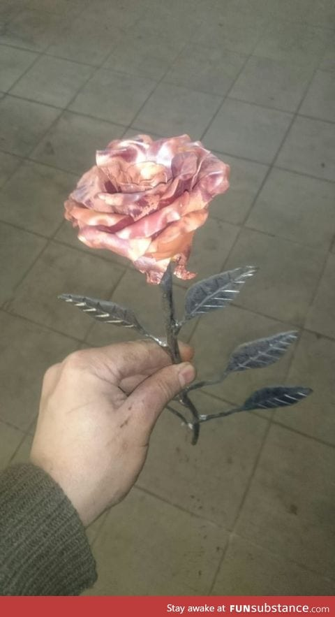 Rose made out of steel and copper