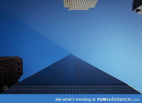 Looking up from the base of the World Trade Center