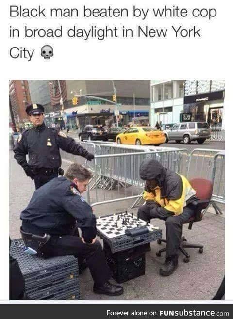 Black man beaten by cop