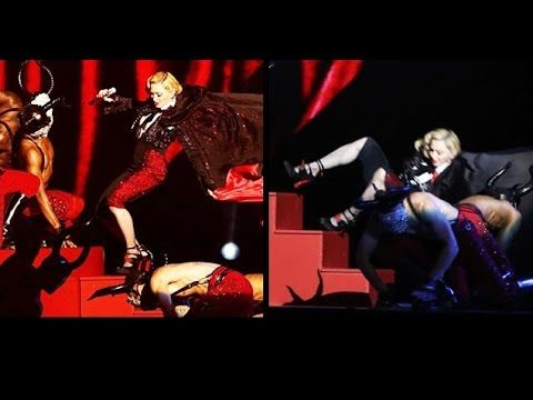 Madonna Falls Down A Set Of Stairs During Performance
