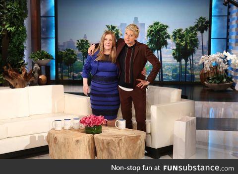 the infamous dress is on Ellen...