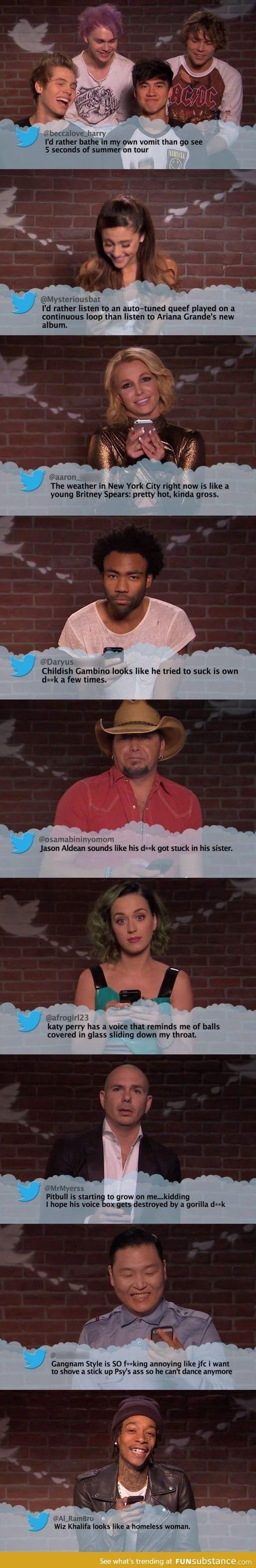 Music artists read mean Tweets