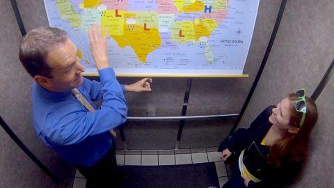 Weatherman in an Elevator Prank