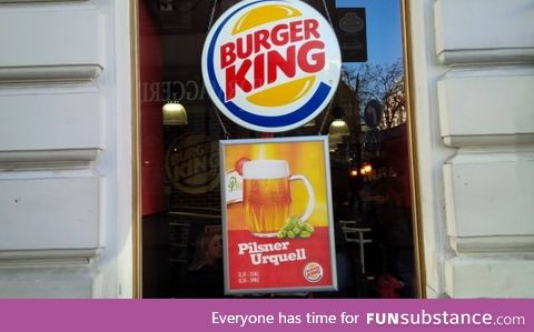 In the Czech Republic, Burger King serves beer from tap