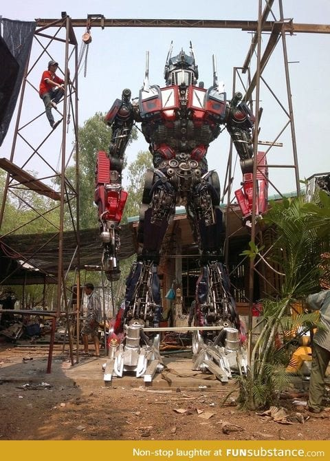 Optimus Prime made from car parts in Thailand