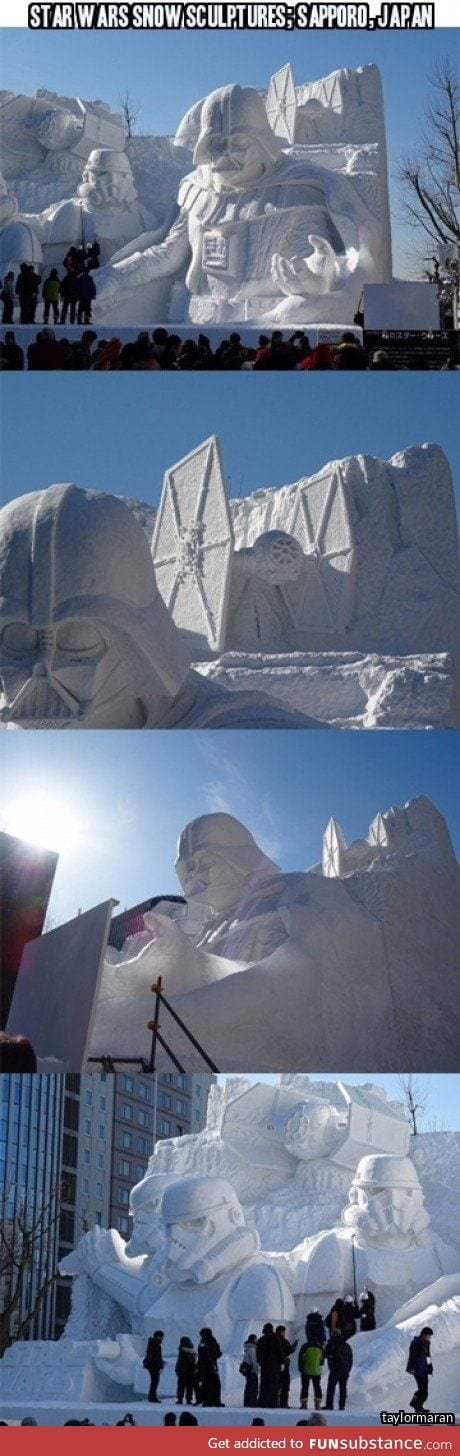 Japanese troops have built a giant Star Wars snow sculpture