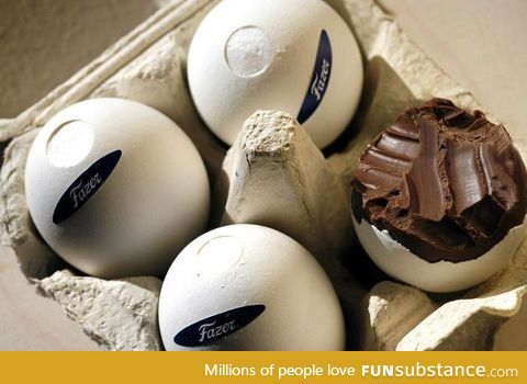 Finnish Mignon egg,  full chocolate made in real eggshell