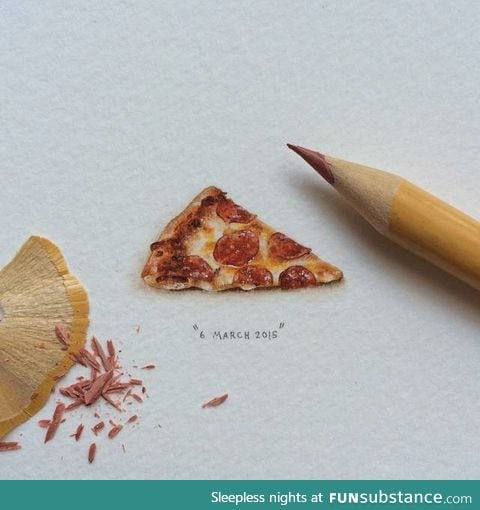 This tiny drawing of a slice of pizza is super realistic!