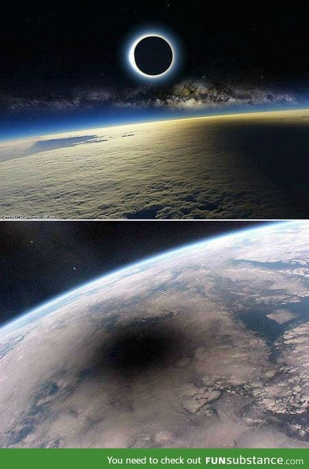 Shadow of the moon cast upon the earth during an eclipse