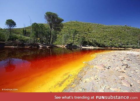 Rio Tinto (river) in Southwestern Spain. All I see is German flag