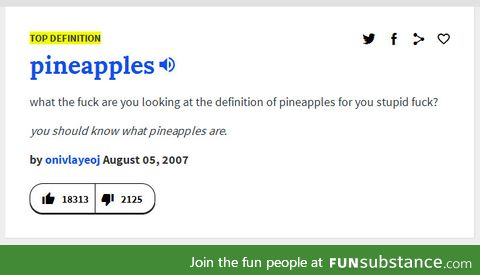 """Urban Dictionary's definition of """"pineapples"""""""
