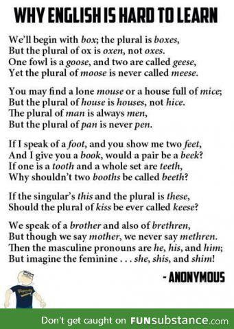 A poem representing the English language
