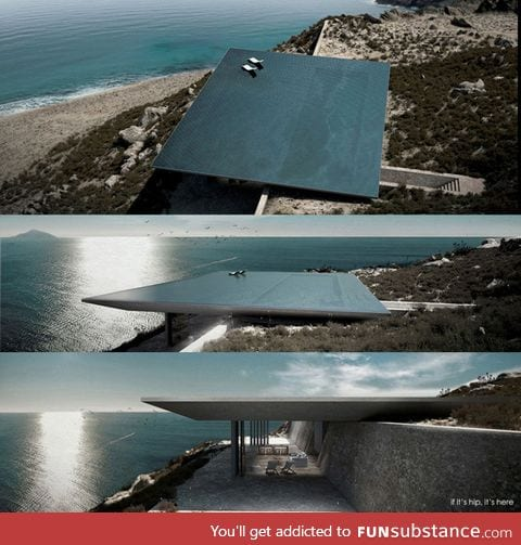 Rimless pool roof which hides the entire house beneath it overlooking the Aegean Sea