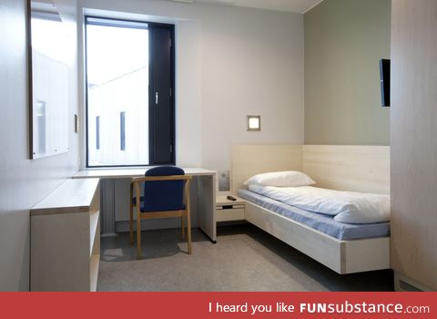 Maximum security prison cell in Halden, Norway looks more like a hotel