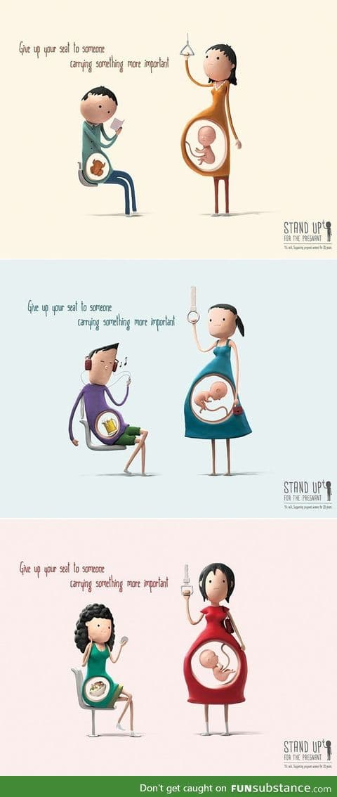 Cute illustrations remind us why pregnant women deserve our seats more than we do