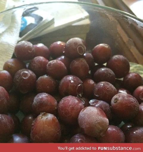 Frozen Grapes. A healthy alternative to junk food.