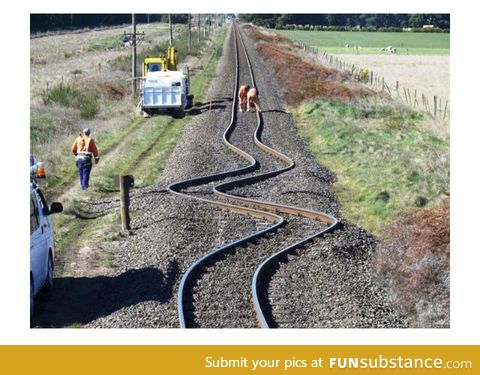 These railroad tracks where straight, until an earthquake hit in New Zealand