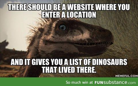 A dinosaur locator website