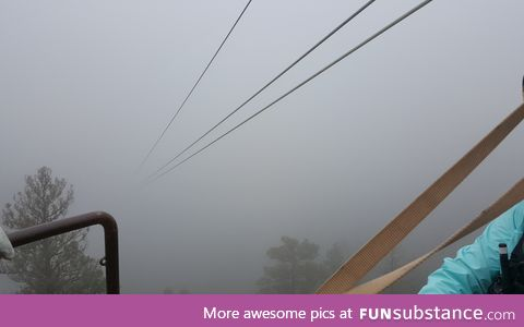 Zipline that is 1500 ft long. Zero visibility at 45 mph. Would you jump?