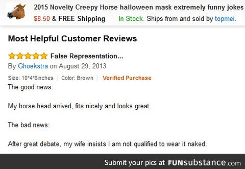 The most helpful customer review for horse head mask