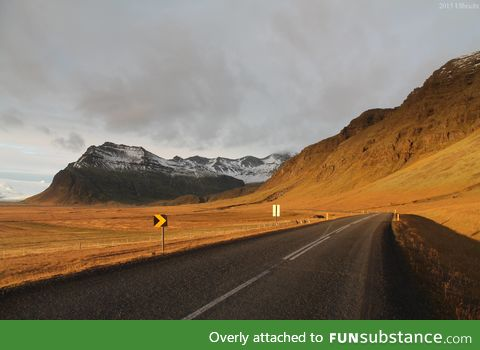 The only main highway in Iceland. It loops around the entire country
