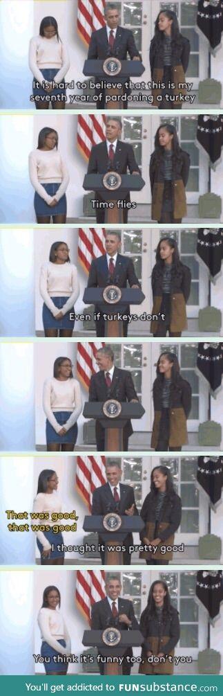 Obama: the president of dad jokes.