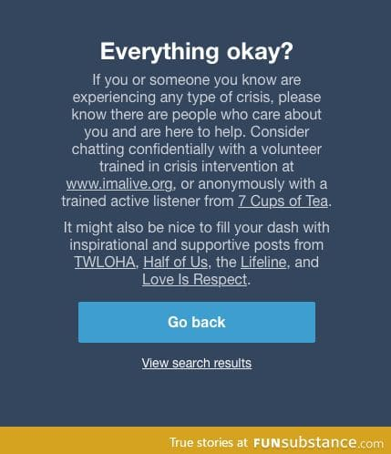 What comes up on tumblr if you search the depression tag... very sweet