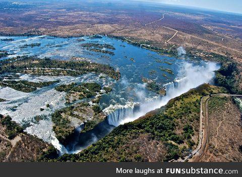 Aerial shot of Victoria falls, Zimbabwe/Zambia