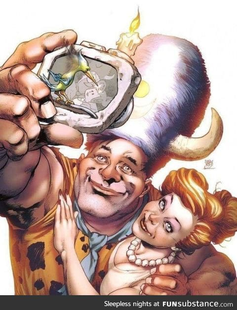 Fred taking a selfie 6000 BCE