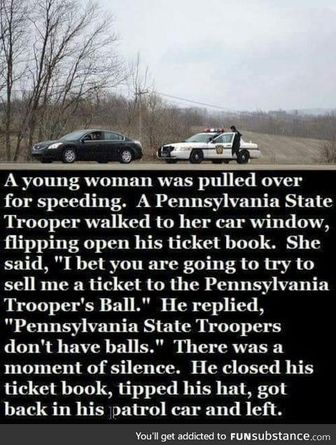 What happened when a women got pulled over for speeding