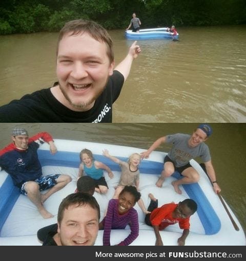 It flooded in Houston, Texas and these guys were rowing an inflatable pool