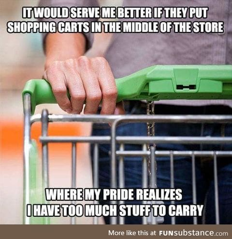 Shopping carts should be in the middle of the store