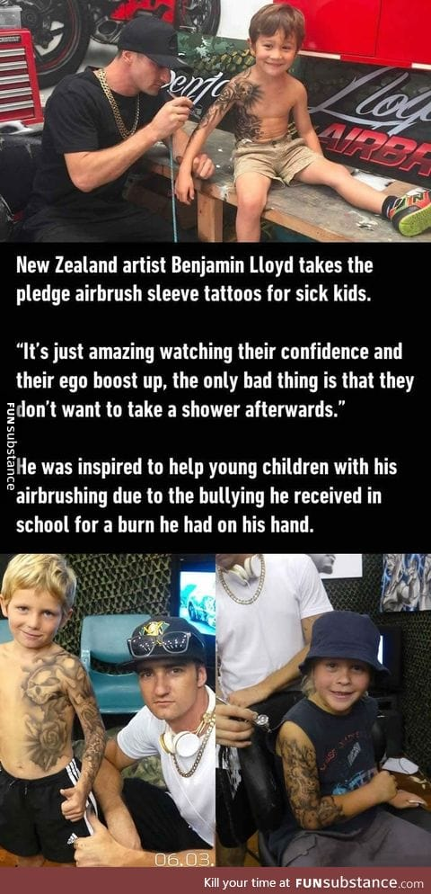 Artist Benjamin Lloyd gives sick kids airbrushed tattoos to boost their confidence