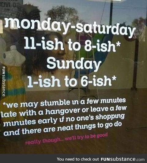 Strange business hours